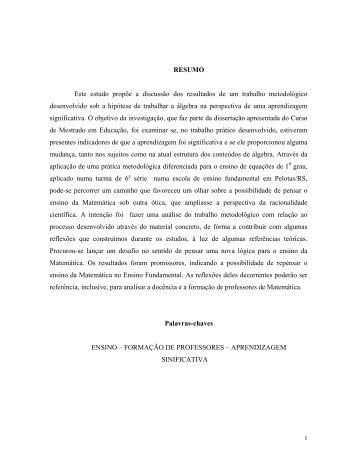 desenvolvimento de processos algébricos na perspectiva de ...