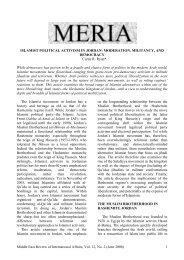 The Islamist Movement and Jordanian ... - GLORIA Center
