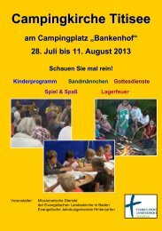 Programmheft Titisee CaKi 2013 - Campingkirche in Baden