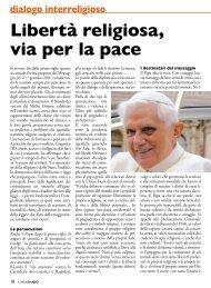 dialogo interreligioso Libertà religiosa, via per la pace - Stimmatini