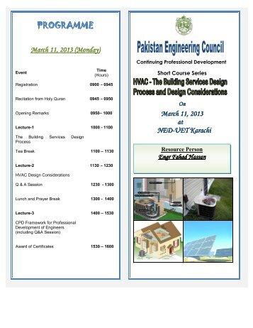 PROGRAMME PROGRAMME - Pakistan Engineering Council