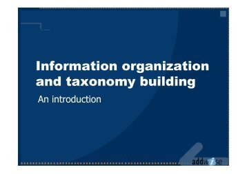 Information organization and taxonomy building
