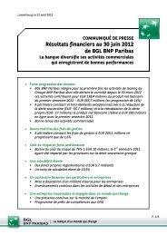 Résultats financiers au 30 juin 2012 de BGL BNP Paribas