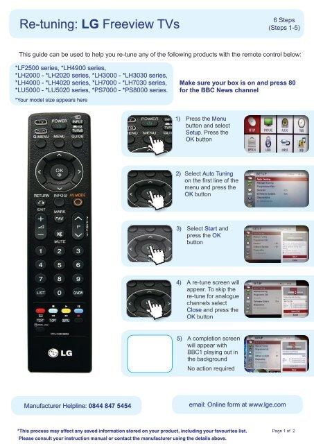 Re-tuning: LG Freeview TVs - ukfree tv