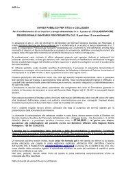 AVVISO PUBBLICO PER TITOLI e COLLOQUIO Per il conferimento ...