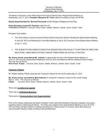 July 11-2012 Regular Board Meeting Minutes - Wilkes-Barre Area ...