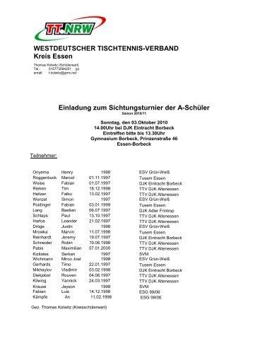 Einladung zum Sichtungsturnier der A-Schüler ... - Siegelonline.de
