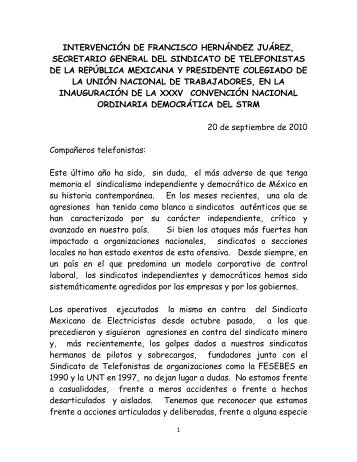 Intervencion del Co. Francisco Hernandez Juarez - STRM