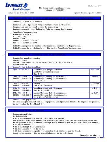 Veiligheidsblad - Epifanes Poly-Urethane Component ... - Marinestore