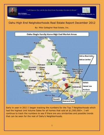 Oahu High End Neighoborhoods Real Estate Report December 2012