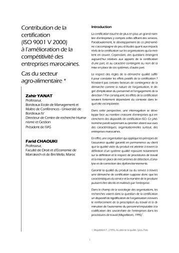 Contribution de la certification (ISO 9001 V 2000) à l'amélioration de ...
