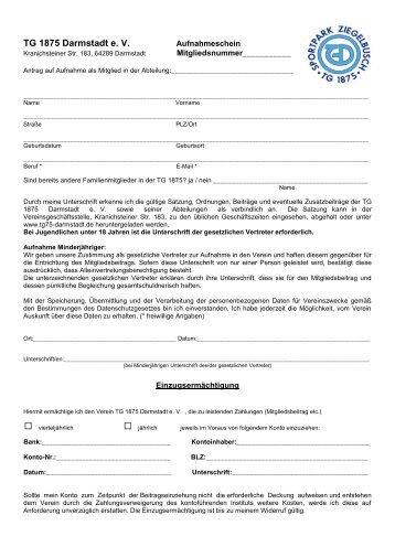 Mitgliedsantrag - bei der TG 1875 Darmstadt eV