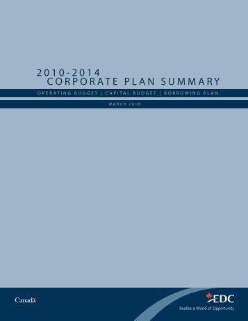 2010-2014 Corporate Plan Summary - EDC