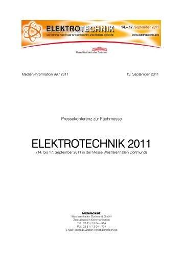 Pressemappe ELEKTROTECHNIK 2011, PDF - Westfalenhallen