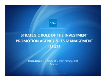 strategic role of the investment promotion agency & its ... - miepo