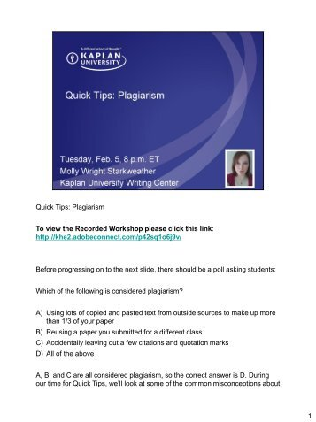 kaplan university ku campus APA Quick Tips - Kaplan University | KU Campus