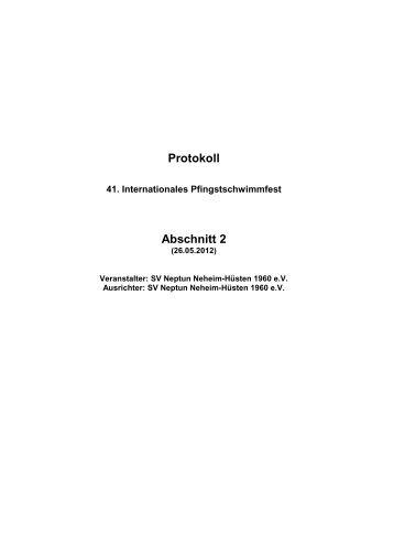Protokoll Abschnitt 2 - SV Neptun Neheim-Hüsten 1960 eV
