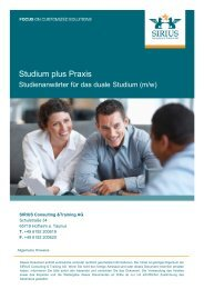 Studium plus Praxis bei SIRIUS v0.1 - Provadis School of ...