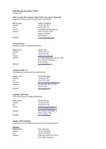 NORSKE DATTERSELSKAPER I CHILE - Noruega - el portal oficial ...