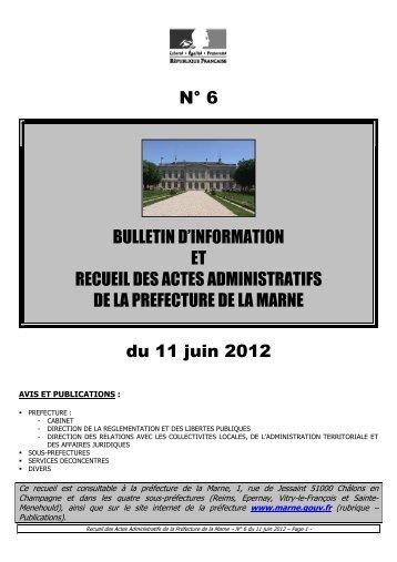 Recueil 6-2012 du 11 juin - Préfecture de la Marne