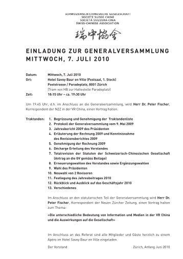 Einladung und Anmeldung (Pdf, 2 S., 101 Kb) - Schweizerisch ...