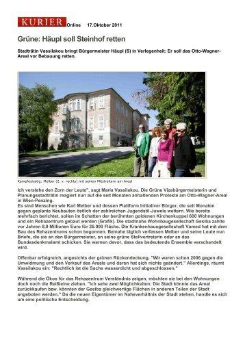 Artikel aus dem Kurier vom 17. Oktober 2011 - Aktion 21