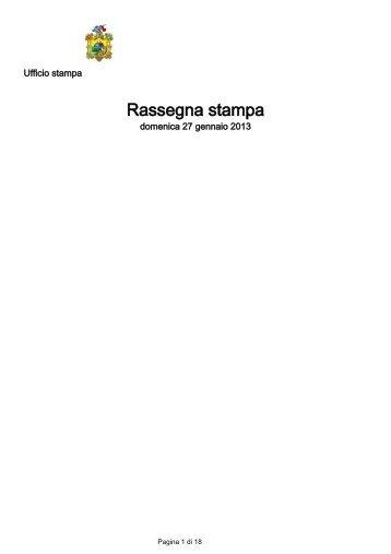 scarica la rassegna stampa completa del 27 Gennaio 2013