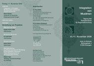 Integration von Muslimen - Zentralinstitut für Regionenforschung
