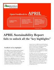 Evolution of APRIL's dependence on raw materials sourced from ...
