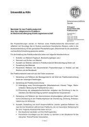 Merkblatt für den Praktikumsbericht - Humanwissenschaftliche Fakultät