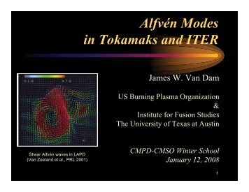 Alfvén Modes in Tokamaks and ITER - UCLA Physics & Astronomy