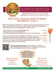 we can't baste our turkey without you!! - Church of St. Francis Xavier