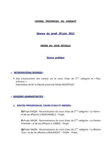 CONSEIL PROVINCIAL DU HAINAUT - La Province de Hainaut