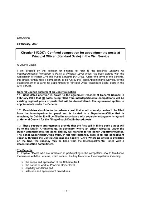 Circular 11/2007  Confined Principal Officer Competition