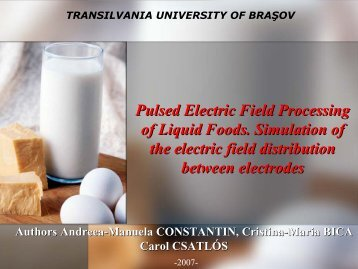 Pulsed Electric Field Processing of Liquid Foods. Simulation of the ...