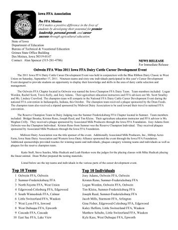 award press release template - iowa ffa horse evaluation and selection