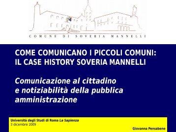 COME COMUNICANO I PICCOLI COMUNI - Dipartimento di ...