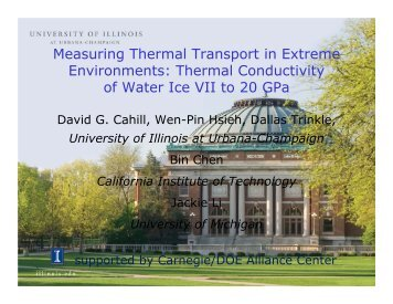 Thermal Conductivity of Water Ice VII to 20 GPa - University of Illinois ...