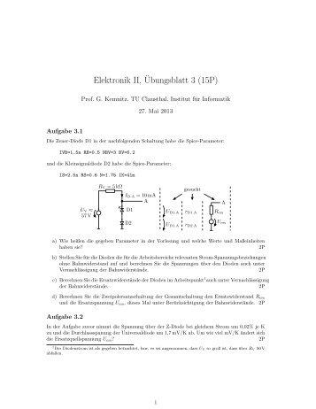 Elektronik II,¨Ubungsblatt 3 (15P) - TU Clausthal