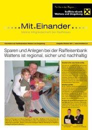 Sparen und Anlegen bei der Raiffeisenbank Wattens ist regional ...