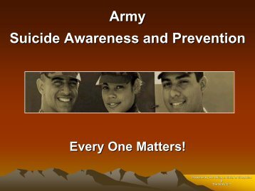 Army suicide awareness and prevention [pdf] - Network Of Care