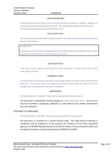 Protocol Template | Template Protocol For Investigational Medicinal Product Imp