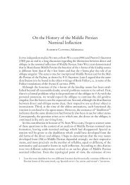 On the History of the Middle Persian Nominal Inflection