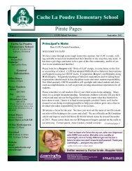 September Newsletter - Cache La Poudre Elementary
