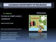 Health Rate Filing Session - Louisiana Department of Insurance
