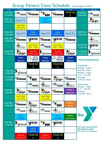 New Group Fitness Class schedule