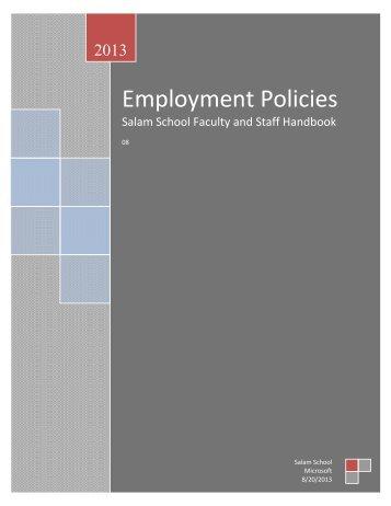 Staff Handbook - Salam School