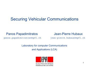 Securing Vehicular Communiction - Sevecom