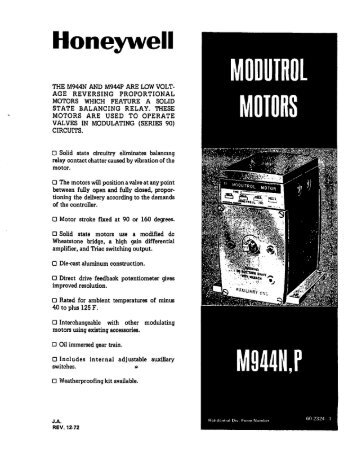 modutrol magazines rh yumpu com honeywell modutrol catalog tech sheet for honeywell m944n & m944p modutrol motors