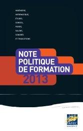 Note politique de formation 2013 - Fafiec